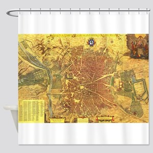 Vintage Map of Madrid Spain (1656) Shower Curtain