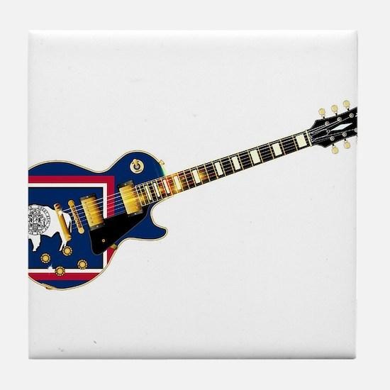 Wyoming State Flag Guitar Tile Coaster