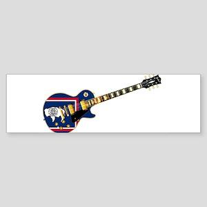 Wyoming State Flag Guitar Bumper Sticker