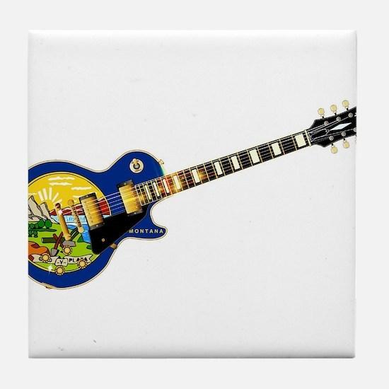 Montana State Flag Guitar Tile Coaster