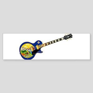 Montana State Flag Guitar Bumper Sticker