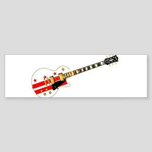 Washington DC State Flag Guitar Bumper Sticker
