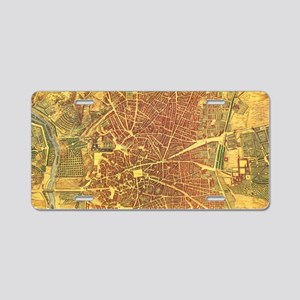 Vintage Map of Madrid Spain Aluminum License Plate