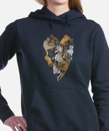 Cat Shaped Heart Women's Hooded Sweatshirt
