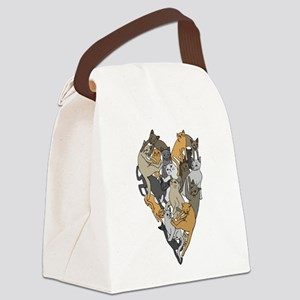 Cat Shaped Heart Canvas Lunch Bag