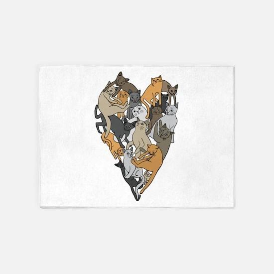 Cat Shaped Heart 5'x7'Area Rug