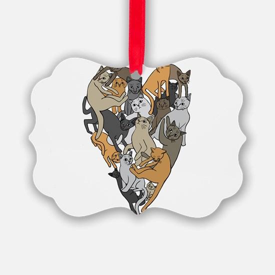Cat Shaped Heart Ornament