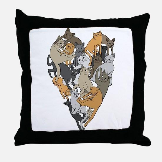 Cat Shaped Heart Throw Pillow