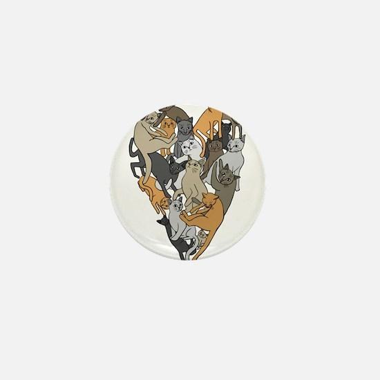 Cat Shaped Heart Mini Button (10 pack)