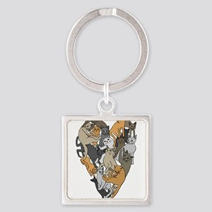 Cat Shaped Heart Keychains
