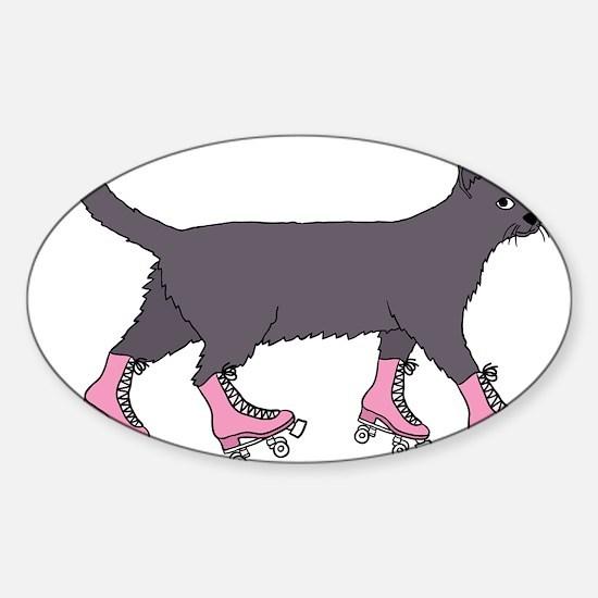Cat Roller Skating Decal