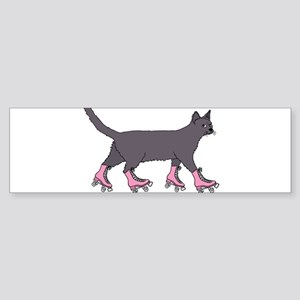 Cat Roller Skating Bumper Sticker