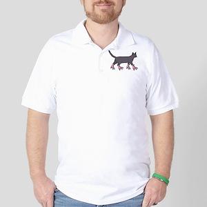 Cat Roller Skating Golf Shirt