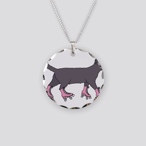 Cat Roller Skating Necklace Circle Charm