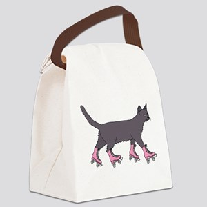 Cat Roller Skating Canvas Lunch Bag