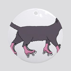 Cat Roller Skating Round Ornament