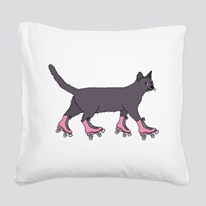 Cat Roller Skating Square Canvas Pillow