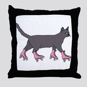 Cat Roller Skating Throw Pillow