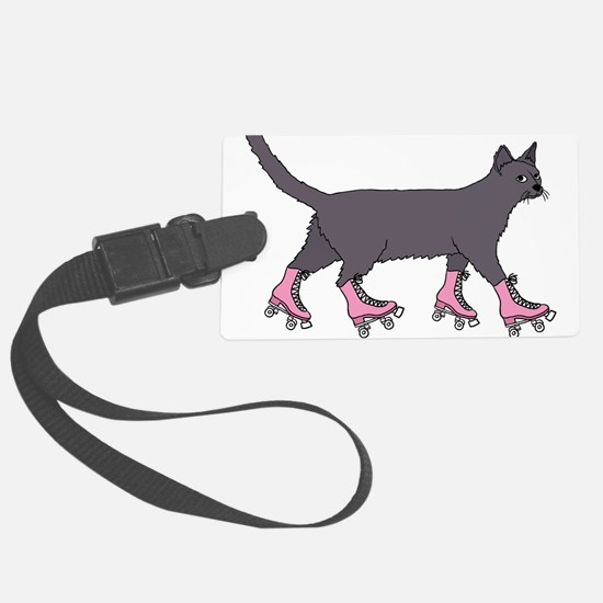 Cat Roller Skating Luggage Tag