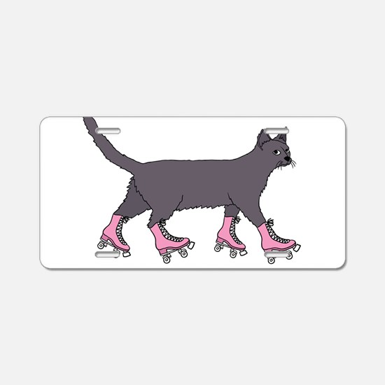 Cat Roller Skating Aluminum License Plate