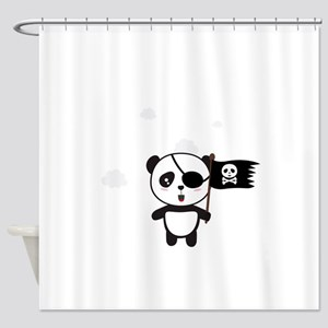 Pirate Panda with Flag Shower Curtain