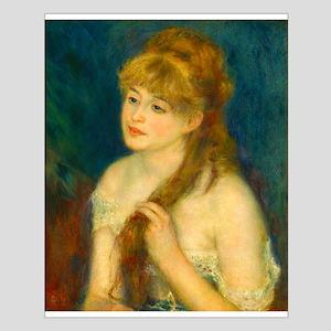 Youn Woman Braiding her Hair by Auguste Renoir Pos