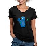 T-Rex Ping Pong Women's V-Neck Dark T-Shirt