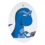 T-Rex Texting Oval Ornament