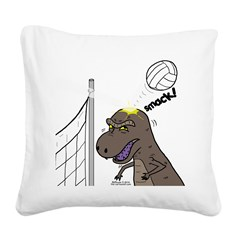 T-Rex Volleyball Square Canvas Pillow