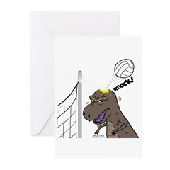T-Rex Volleyball Greeting Cards (Pk of 10)