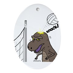 T-Rex Volleyball Oval Ornament