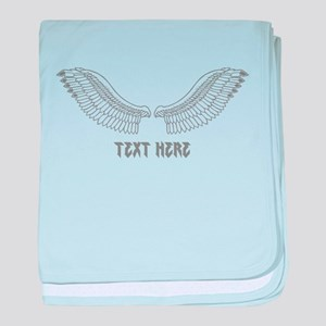 Gray Wings with Custom Text baby blanket