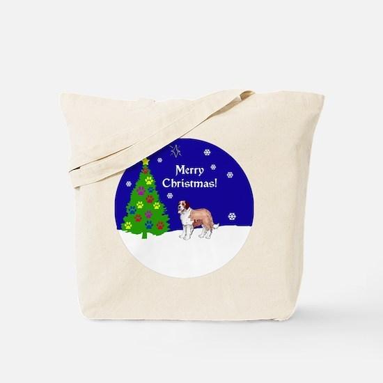 St Bernard Christmas Tote Bag