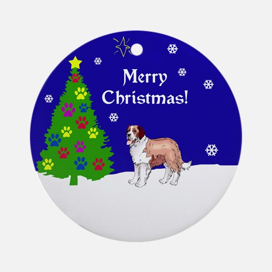 St Bernard Christmas Ornament (Round)