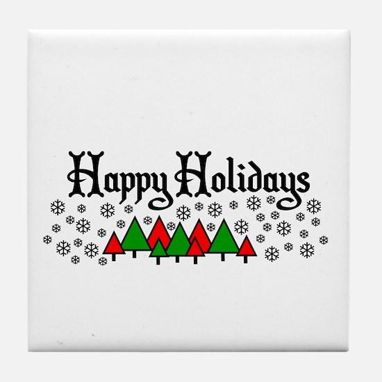 Happy Holidays Tile Coaster