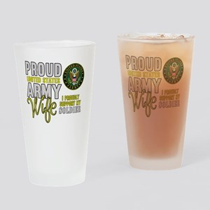 Proud Army WIfe Supporting Drinking Glass