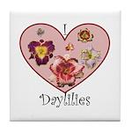 I Love Daylilies Tile Coaster