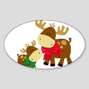 Merry Chris Moose Mom and B Sticker