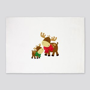 Merry Chris Moose Mom and Baby 5'x7'Area Rug