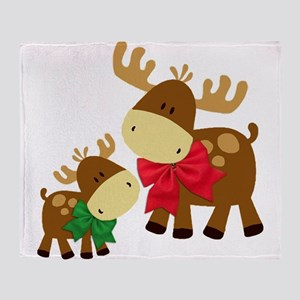 Merry Chris Moose Mom and Baby Throw Blanket