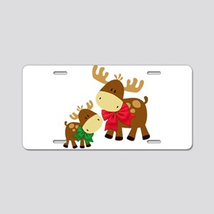 Merry Chris Moose Mom and B Aluminum License Plate