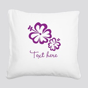 Custom Flower Design Square Canvas Pillow