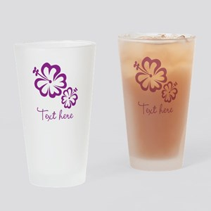 Custom Flower Design Drinking Glass