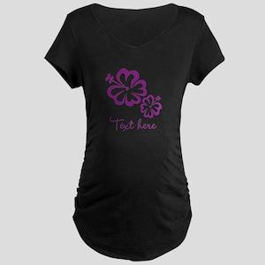 Custom Flower Design Maternity T-Shirt