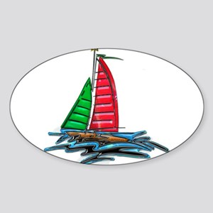 Red & Green Christmas Sailb Sticker