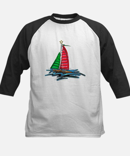 Red & Green Christmas Sailboat Baseball Jersey