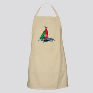 Red & Green Christmas Sailboat Apron