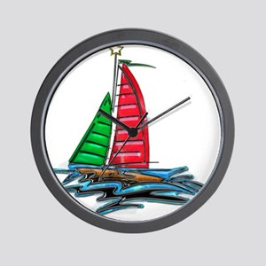 Red & Green Christmas Sailboat Wall Clock