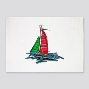Red & Green Christmas Sailboat 5'x7'Area Rug