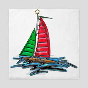 Red & Green Christmas Sailboat Queen Duvet